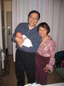 My dad, my mom, and my newborn son